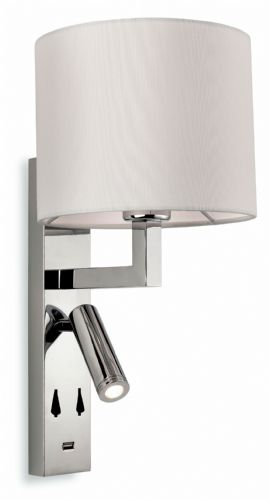 Firstlight 7658CH Chrome with Cream Shade Spirit Wall Light with USB Port